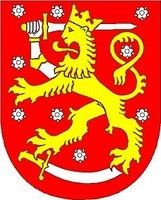 Coat of arms of Finland. The coat of arms of Finland is a crowned lion on a red field, the right foreleg replaced with an armoured hand brandishing a sword, trampling on a sabre with the hindpaws. The coat of arms was originally created around the year Lappland, Barbados Wedding, National Animal, Sweden Travel, Naha, Family Crest, Crests, My Heritage, Coat Of Arms