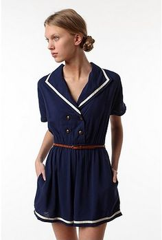 Urban Outfitters : Pins and Needles Piped Sailor Romper - doubles as a Halloween costume!
