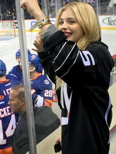 Chloë Grace Moretz takes in the New York Islanders and San Jose Sharks at the Barclays Center in Brooklyn on Saturday. Chloe Grace, Chole Grace Moretz, Robin Thicke, Steve Martin, Big Crush, New York Islanders, San Jose Sharks, Celebs, Celebrities
