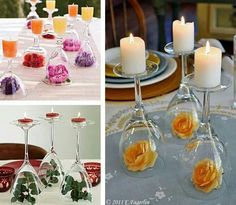 Cute idea! Turn wine glasses upside down and use tea light candles on top.