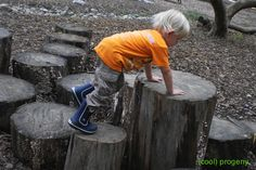 inspiration for natural play: create an amazing play space for pennies with these earth-friendly ideas. We have lots of logs. Natural Play Spaces, Outdoor Play Spaces, Kids Outdoor Play, Kids Play Area, Backyard Playground, Playground Ideas, Backyard Ideas, Low Maintenance Garden Design, Nature Activities