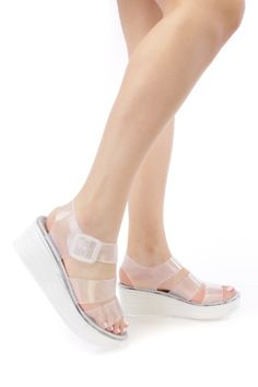 Clear Strappy Cut Out Jelly Platform Sandals PVC id3g5JVa