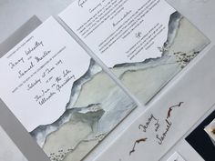 Pretty, charming, intricate and elegant. The Ullswater wedding invitation has taken inspiration from where this studio is based - near the shores of Ullswater in the Lake District. Painted by Helen herself, this watercolour detailing beautifully matches any couple who love the mountains be it here in the Lake District or elsewhere. Featuring soft, hammered Fresco Gesso 300gsm cardstock and rose gold foil detailing. Stationery Design, Wedding Stationery, Wedding Invitations, Table Names, Place Names, Rose Gold Foil, Belly Bands, Digital Marketing Services, Table Plans