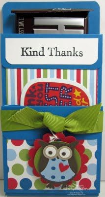 Cute thank yous.  Two pockets - one for candy bar, second for gift card.  From @BeckyRoberts of #InkingIdaho
