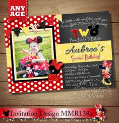 HUGE SELECTION Red Minnie Mouse Birthday Invitation, Red Polka Dot Minnie Mouse Birthday Invitation, Chalkboard Invitation, Chalkboard by ThePrintableOccasion on Etsy https://www.etsy.com/listing/167822124/huge-selection-red-minnie-mouse-birthday