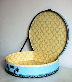French 1980s vintage round gift box briefcase hatbox style
