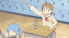 This is the scene that piqued my interest in Nichijou. The game is called Daruma Otoshi… which is really hard to win, due to the friction between the discs when you strike one with the hammer.