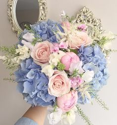 """1,512 Likes, 18 Comments - Lola (@lolaflowerboutique) on Instagram: """"☁️B L U E ☁️ #flowers #florist #londonflorist #floral #floraldesign #pastels #roses #meijerroses…"""""""