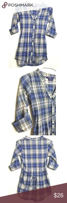 "Miley Cyrus Max Azria Women's Plaid Button Down Miley Cyrus Max Azria Women's Button Down XS Blue Red White Plaid %100 Cotton Made in Vietnam Flat Lay Measurements Sleeves: 19"" Shoulders: 14"" Chest: 15""  Length: 20.5"" No holes or stains Smoke free home Pictures are part of description GB071372018 AK-13 Miley Cyrus & Max Azria Tops Button Down Shirts"