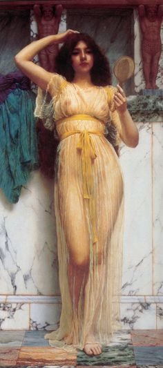 The Mirror: 1899 by John William Godward (Unkknown Owner/Private Collection - Location Unknown) Pre-Raphaelite