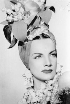 Actress Carmen Miranda, born  February 9, 1909, in Marco de Canavese, Portugal, was noted for her signature fruit hat outfit she wore in the 1943 movie The Gang's All Here.