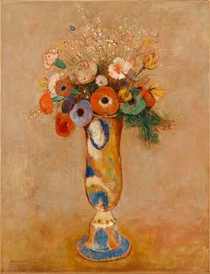 "Odilon Redon, ""Wildflowers in a Long-Neck Vase"""