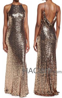 MACloth Women Sheath Long Sequin Rose Gold Evening Gown Bridesmaid Dress