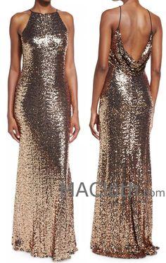 MACloth Women Sheath Long Sequin Rose Gold Evening Gown Bridesmaid Dress