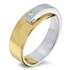 Ring bicolor ..with a princess cut diamond NOL jewellery. Hand crafted, exclusive jewellery from the Netherlands.   NOL jewellery offers pure Dutch craftsmanship in forged precious metal.  gesmeed met Prinses geslepen diamant