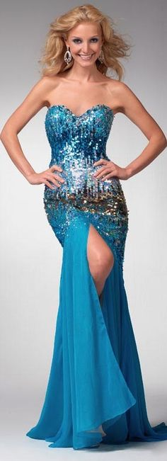 Clarisse prom dress 1534 - Turquoise strapless formal gowns 2014 | Promgirl.net