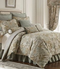 9-Pc Rose Tree Antibes King Comforter Set French Country Floral Cheetah Beige #RoseTree #FrenchCountry #ComforterSets