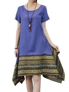 Women elegant printing patchwork asymmetric cotton linen dress casual dresses with jackets #a #casual #dress #code #casual #dress #vest #casual #dresses #neck #designs #casual #dresses #to #wear #to #a #wedding