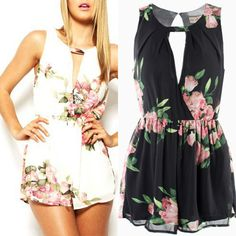Fashion Womens Sexy Bodycon Short Casual Sleeveless Floral Jumpsuits Rompers #Unbranded #Jumpsuit
