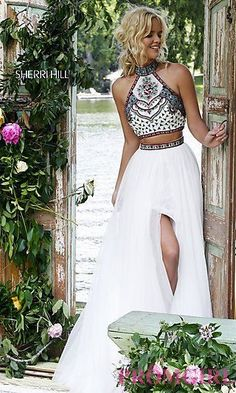 Sherri Hill Two Piece Dress with Embroidered Top at PromGirl.com