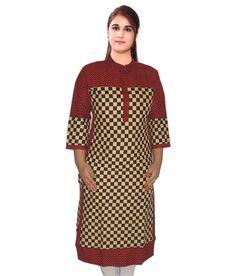 "Designer Big Chess Printed Multi Color Kurti Ethnic Kurta L 40"" Tunic Kurtas and Kurtis For Women"