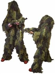4 PC XL/XXL Ghillie Suit Woodland Camo Use for Airsoft Snipers - Gun Cover Included