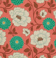 Coral Emerlad and Cream Floral Fabric, Bungalow By Joel Dewberry for Free Spirit, Dahlia Print in Coral, 1 Yard