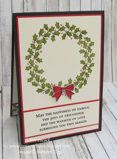 Stampin' Up! - Holly Berry Happiness - Wreath Card ....  Teri Pocock - http://teriscraftspot.blogspot.co.uk/2016/09/holly-berry-happiness-wreath-card.html