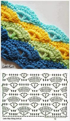 :-) Shell Stitch - Free Crochet Diagram - Pattern In Polish - (letesknits), Photo only w Pattern Chart, Such a pretty crochet stitch :), StI love this pattern! It was the second pattern I learned. Shell or wave crochet pattern - they have the pattern Crochet Vintage, Crochet Diy, Crochet Motifs, Crochet Diagram, Crochet Stitches Patterns, Crochet Chart, Love Crochet, Crochet Designs, Stitch Patterns