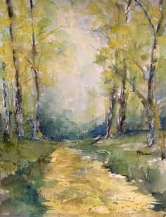 Watercolor of Springtime on a Country Road 2013.  RMB