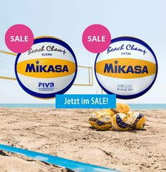 """Der Beach-Volleyball der Profis und für alle, die ambitioniert sind und Goldluft schnuppern wollen. Seine maschinengenähte, 10-teilige Ballhülle aus feinstem Micro-Material und die weiche und rutschfeste Oberfläche sorgen für maximale Ballkontrolle und verbesserte Wasserfestigkeit. Sein geringerer """"Rebound Effekt"""" erhöht die Kontaktzeit für präzise Zuspiele. #beachvolleyball #sale"""