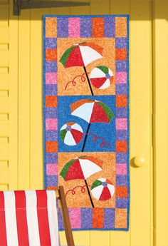 On the Beach Quilt Pattern (advanced beginner, banner) Quilting Projects, Sewing Projects, Sewing Ideas, Skinny Quilts, Beach Quilt, Summer Quilts, Hawaiian Quilts, Landscape Quilts, Quilted Table Runners