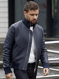 Here is a glorious item at topcelebsjackets of your favorite singer. Liam Payne looks stylish in this Black Jacket. This item is made in real leather. Stylish Jackets, Liam Payne, American Singers, Round Collar, Real Leather, Boy Bands, Bomber Jacket, Leather Jacket, Photoshoot