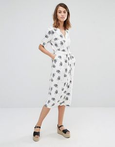 Image 4 of Warehouse Stencil Floral Wrap Midi Dress