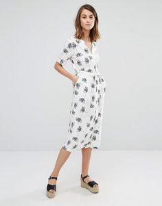 Image 4 ofWarehouse Stencil Floral Wrap Midi Dress