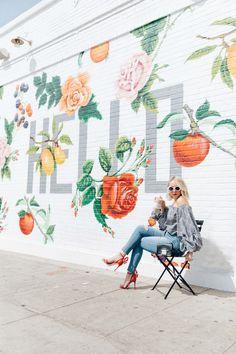 Mural Wall Art, Graffiti Wall, Instagram Wall, Instagram Worthy, Garden Mural, Murals Street Art, Public Art, Art Projects, Backdrops