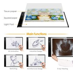 INTEY Light Box Dimmable LED Artcraft Tracing Light Pad A4 Size Ultra-thin Tattoo Micro USB Power Input: Amazon.co.uk: Kitchen & Home Thin Tattoo, Led Light Box, Industrial Design Sketch, Paper Light, Arts And Crafts, Animation, A4 Size, Amazon