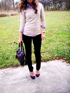 colorful checked shirt, neutral sweater, black skinny jeans