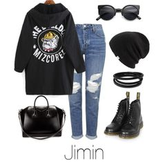 Jimin Inspired w/ Dr. Martens by btsoutfits on Polyvore featuring mode, Topshop, Dr. Martens, Givenchy, Swarovski, Coal and Retrò