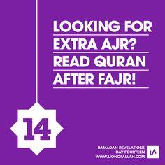 Extra Ajr/Reward: Read Qur'an after Fajr prayers. Dua For Ramadan, Ramadan Tips, Islam Ramadan, Ramadan Mubarak, Ramadan Images, Laylat Al Qadr, Muslim Holidays, Holy Quran, Way Of Life