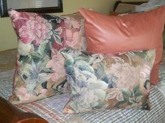Fantasy Flowers  Luxury PILLOWS hand made in by CUSTOMCUTDECORS, $90.00