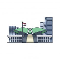 Jakarta City, Graphic Design Posters, Willis Tower, Line Art, Vector Free, Art Drawings, Flag, Illustration, Architecture