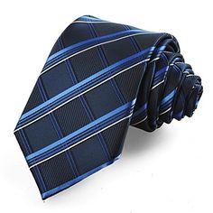 tela escocesa de los hombres comprobó azul marino corbata microfibra clásico regalo de empresa traje corbata fiesta formal del partido de la boda – EUR € 10.90
