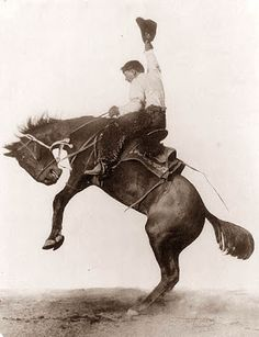Bucking bronco, at Cheyenne Frontier Days, Wyoming, by the United Pacific Railroad. Vintage image restored by Kathy Weiser- Alexander. Real Cowboys, Cowboys And Indians, Vintage Cowgirl, Cowboy And Cowgirl, Cowboy Art, Urban Cowboy, Vintage Pictures, Old Pictures, Time Pictures