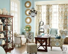 Bright blue living room