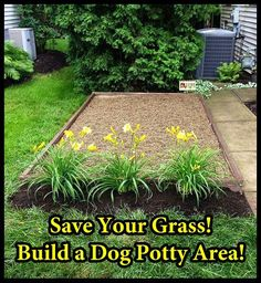 How to Build a Dog Potty Area...this is what I should do for the cats. Maybe then they'd stay out of my flower beds.