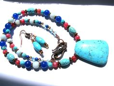 SALE 40% OFF, Blue Turquoise Howlite Pendant Necklace Earrings, Amazonite, Blue & Red Jade, Antiqued Copper, Gift Set For Mom, Ready To Ship