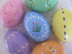 HandPainted Ceramic Easter Eggs Set V1 by YellowCatStudio on Etsy, $15.00