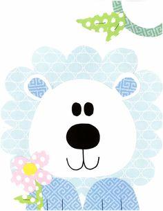 Blue Lion with Flower Nursery Artwork Print // Baby Room Decoration // Kids Room Decoration // Gifts Under 20