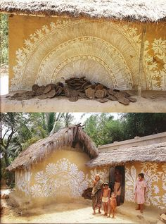 Indian Interiors. Post by Moon to Moon. This is a follow-up post from a previous one. When I saw these in the initial post I feel in love with them. I love it when art/beauty collide with life in unexpected ways. These ornate adobe painted walls are inspiring. Beautiful wall decoration